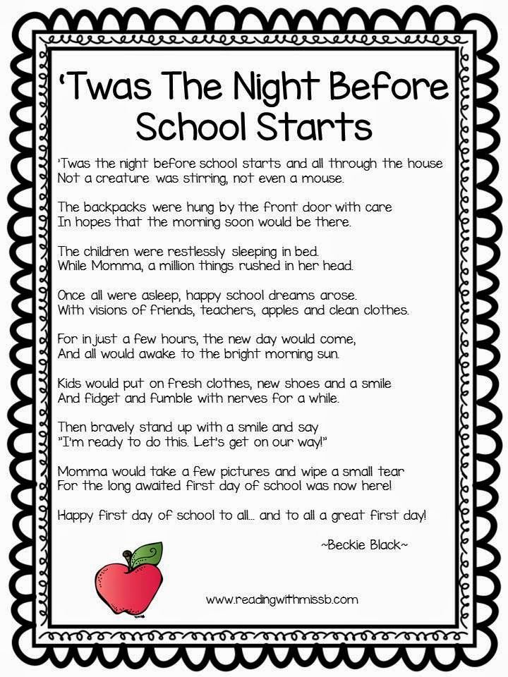 Reading with Miss B.: 'Twas The First Day Of School & Giveaway Week 2   School Fun   Pinterest ...