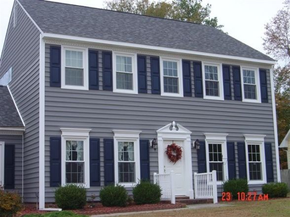 Gray Siding Blue Shutters And White Door Love House Colors Exterior