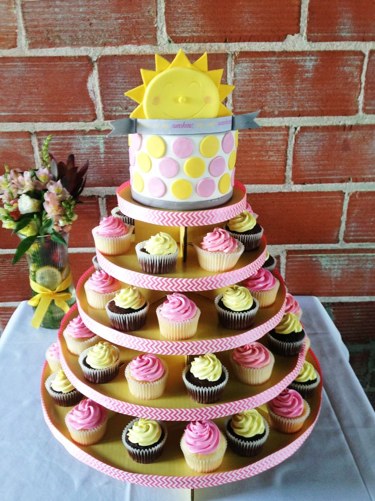You are my sunshine cupcake tower