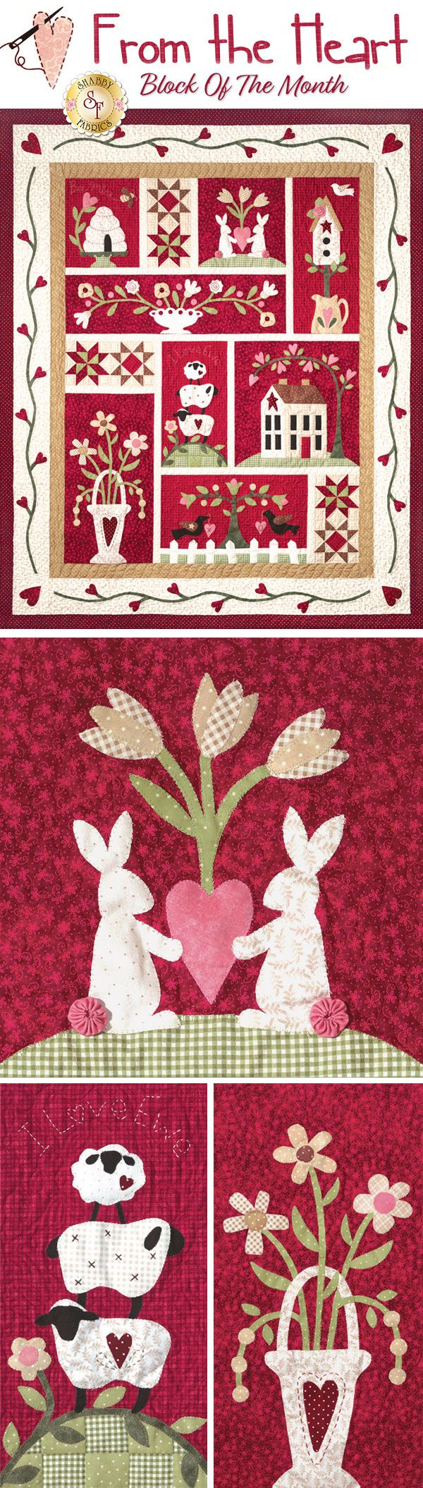 "From the Heart BOM - Fill your home with love and warmth with the darling From the Heart Block of the Month! This gorgeous quilt was designed by The Quilt Company, and features everything from a bee spelling out ""Bee Mine"" to bunnies holding a heart, floral bouquets, and so much more!"