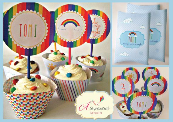 Printable custom rainbow birthday party kit by Alapipetuadesign Rainbow wrappers, rainbow toppers, custom items!