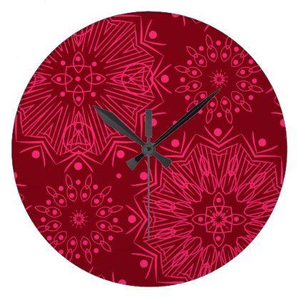 #Red Christmas pattern Large Clock - #Xmas #ChristmasEve Christmas Eve #Christmas #merry #xmas #family #kids #gifts #holidays #Santa