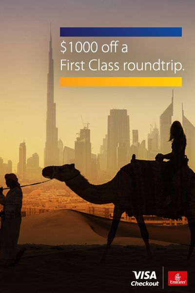 From everyday routines to exotic adventures, get roundtrip flights the easy way with Visa Checkout.   Save on an Emirates roundtrip flight when you book using Visa Checkout with Promo Code: USVISAC. Offer valid through 11/24/2016. Must travel between 10/24/16 and 7/24/17. Valid only on U.S.-outbound roundtrip fares. Conditions apply for each fare. Terms and fare rules apply.
