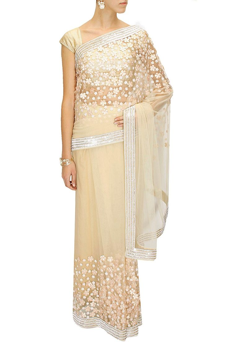 Beige 3d floral applique net sari available only at Pernia's Pop-Up Shop.