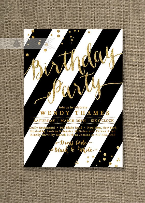 Best Digibuddha Birthday Invitations Images On Pinterest Th - Black and white 30th birthday party invitations