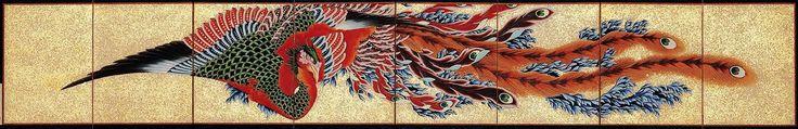 鳳凰図屏風 全体(葛飾北斎の画)の拡大画像 | 幕末ガイド