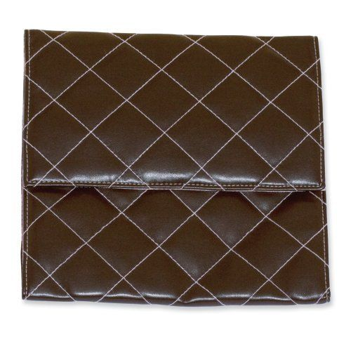 Chic 8x8 Brown w/ Pink Stitched Quilted Travel Bag Perfect Gift Idea goldia. $38.60