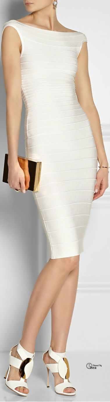 Hervé Léger  White off-the-shoulder bandage dress; that is so damn classy
