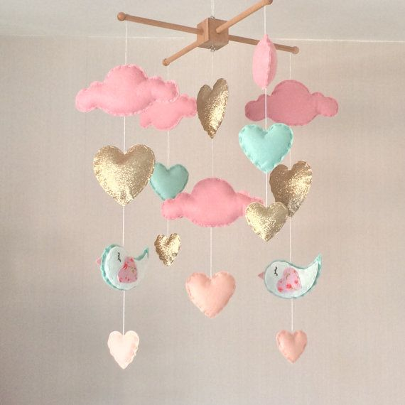 Baby mobile - Baby girl mobile - Cot mobile - Heart mobile - Cloud Mobile…