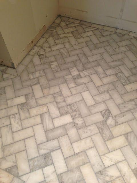 herringbone tile floors - grey