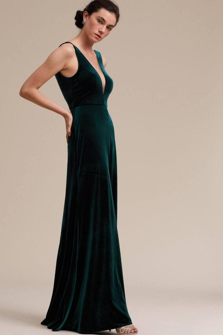 logan dress | velvet bridesmaid dresses, green bridesmaid