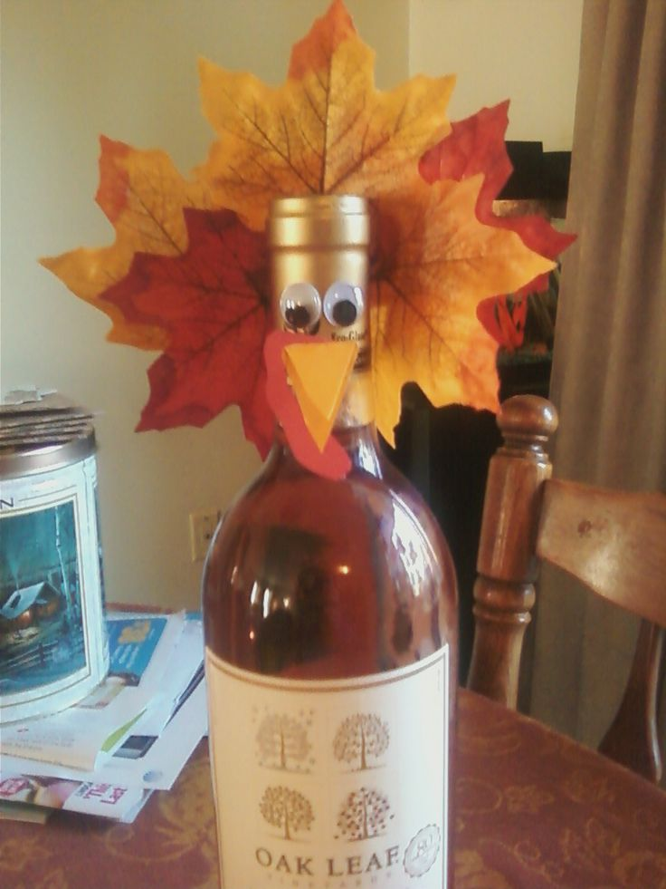 Thanksgiving Turkey Wine Bottle--Hostess Gift  :): Thanksgiving Turkey, Wine Bottle Hostess, Gifts Ideas, Fall Wine Bottle, Friends Gifts, Bottle Hostess Gifts, Turkey Wine, Fall Thanksgiving Halloween, Thanksgiving Hostess Gifts Diy