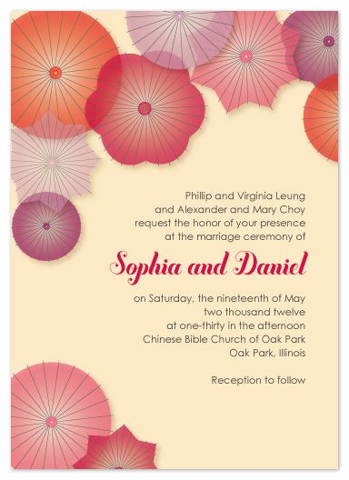 Flower/parasol wedding invite!
