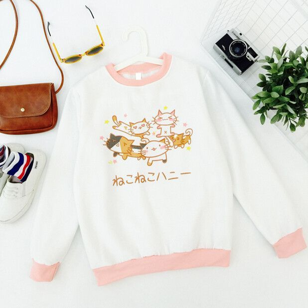 """Japanese harajuku kawaii cat fleece pullover Cute Kawaii Harajuku Fashion Clothing & Accessories Website. Sponsorship Review & Affiliate Program opening soft and nice check it out. use this coupon code """"pinscute"""" to get all 10% off shop now for lowest price."""