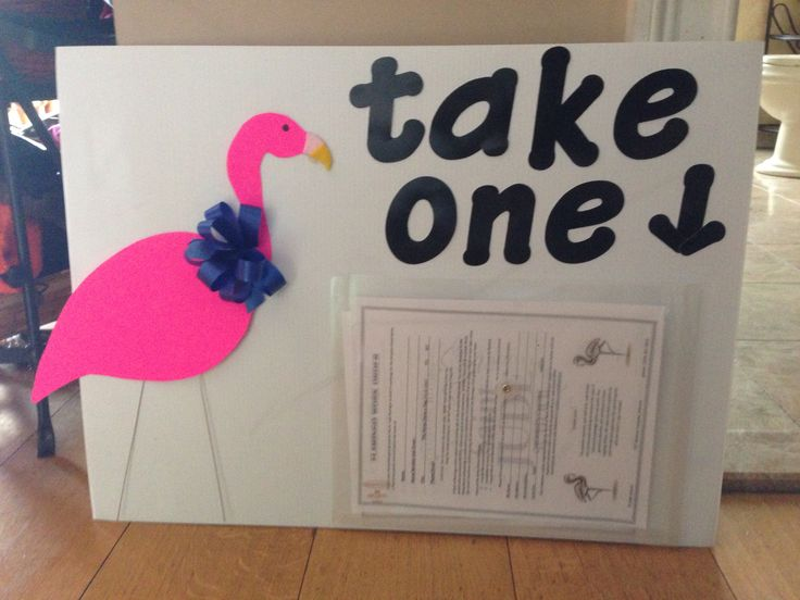 Flamingo fundraiser sign. Take a work order sheet.
