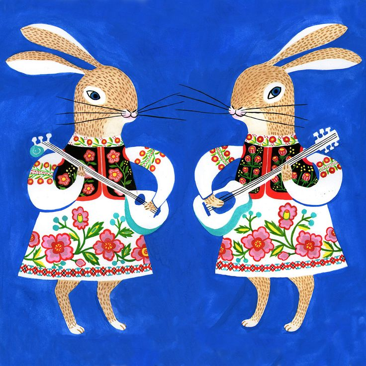 Hui Yuan Chang cute folklore scandi style 70's kitsch illustration of rabbits european folk art for christmas or easter