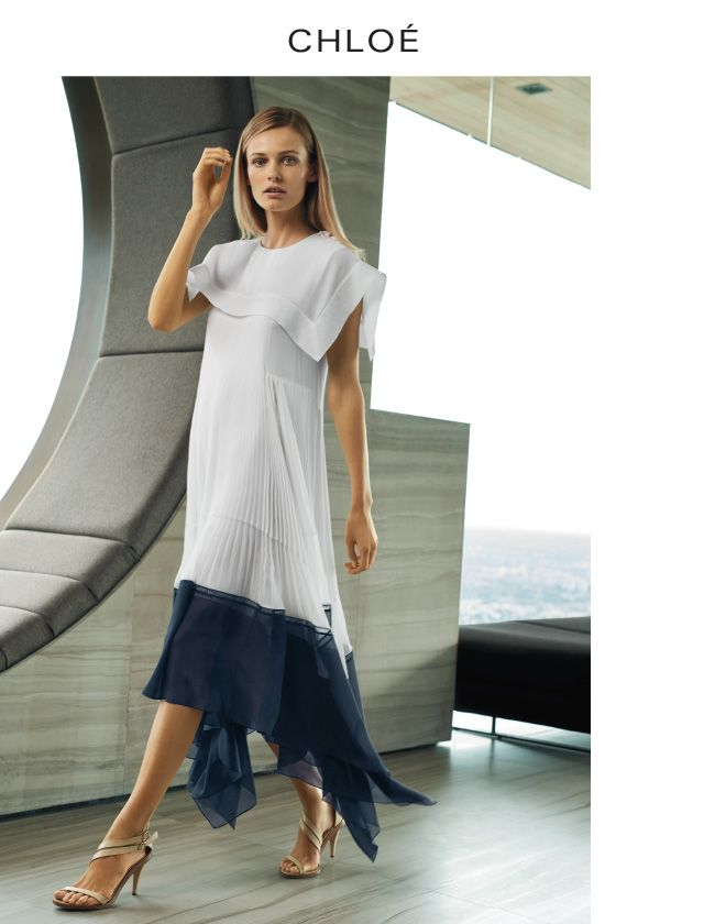 CHLOÉ Crepe voile short-sleeve dress in white and navy. $6950. Calf leather Nico sandal in misty beige. $1140.