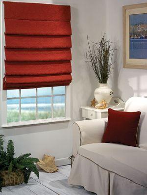 czerwone rolety rzymskie, red roman blinds