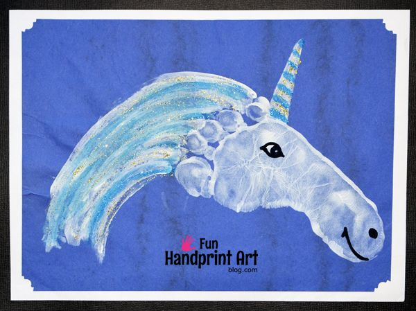 Let's make a sparkly Footprint Unicorn! Perfect for a preschool fairytale theme or to hang up as decor in a bedroom.