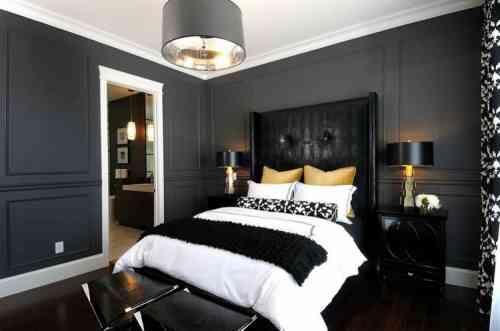chambre à coucher design en noir et doré