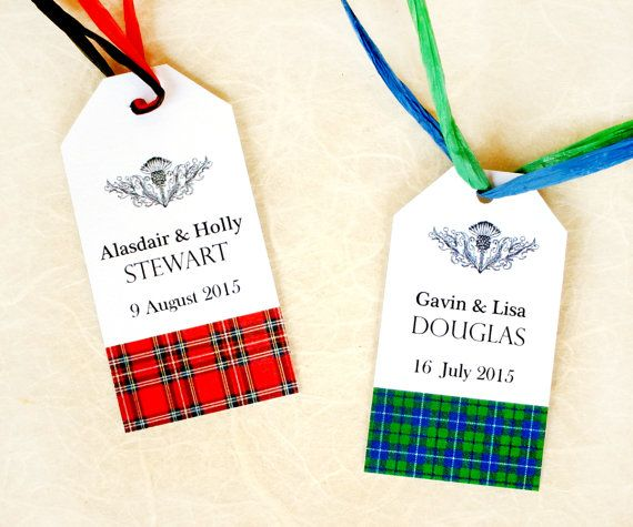 Scottish Wedding Favor Tags - Custom Scottish Tartan Gift Tags - Personalized Wedding Favor Cards - Plaid - 2 inches
