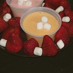 Quick and Easy Fruit Dip.  Marshmallow cream, Cream Cheese, OJ or Cherry juice.
