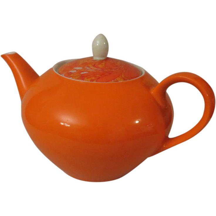 Holt Howard Bright Orange Teapot c 1960s - Mid Century Modern Teapot - Made in Japan
