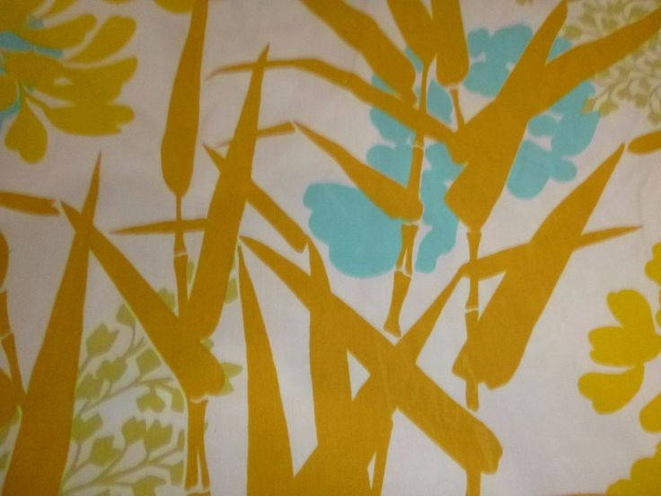 Vtg Burlington KING Flat Sheet Yellow Turquoise Tropical Floral Bamboo Percale