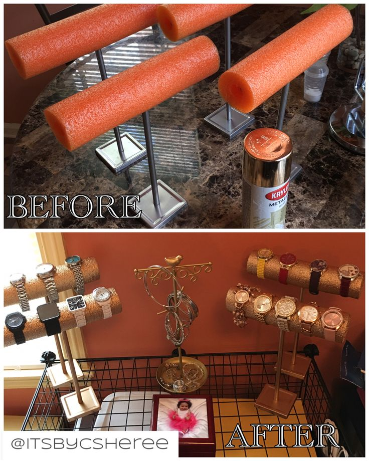 DIY Watch holder made from jewelry stands found at Five Below, a pool float, and spray paint! SUPER EASY!