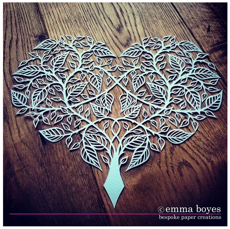 Original Papercut leaf heart. Hand drawn and hand cut by Emma Boyes