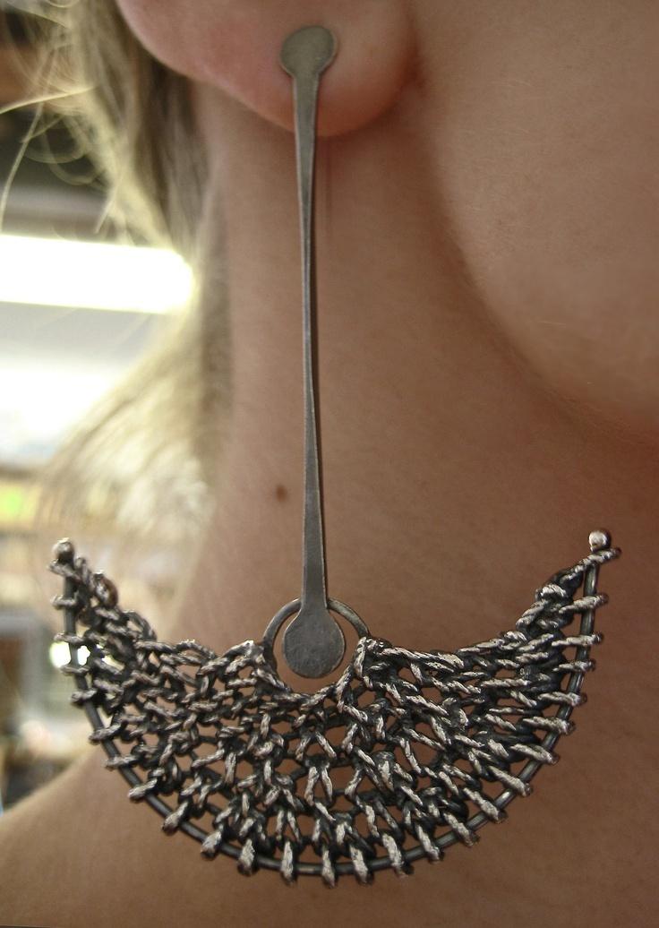 "Earrings | Ashley Stevens (Etsy Shop ashflowers2). ""Knit Crescent Dangle"". Solid sterling silver casting of handmade knitting."