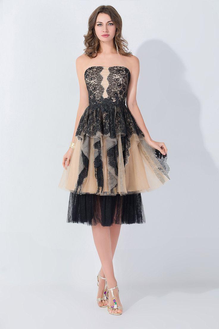 Black Cocktail Dresses Tea Length