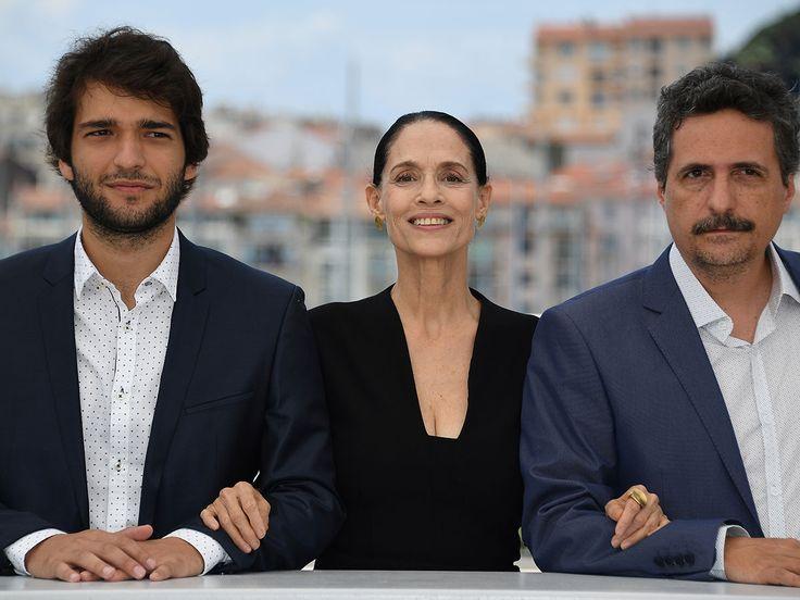 Humberto Carrao, Sonia Braga, Kleber Mendonça Filho (Aquarius)  .  Cannes 2016