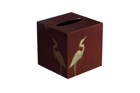 Heron pattern tissue box in Marsala colour. #marsala