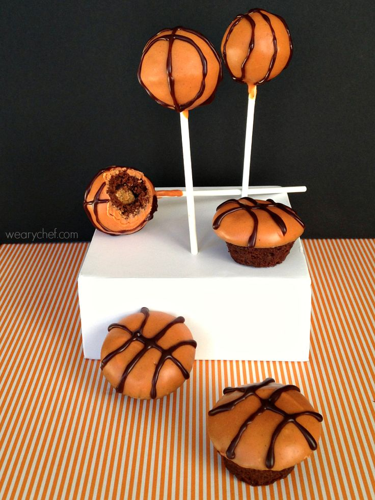Peanut Butter Stuffed Basketball Cake Pops and Brownie Bites {PLUS vote for your favorite recipes and enter to win a $100 daily giveaway!} #sponsored