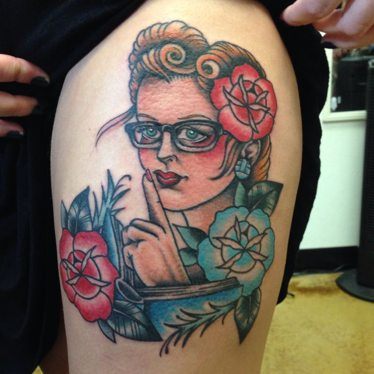 Pin up teacher tattoo Done by Shannon Reed / Norfolk, VA / Instagram : shannonreedtattoo