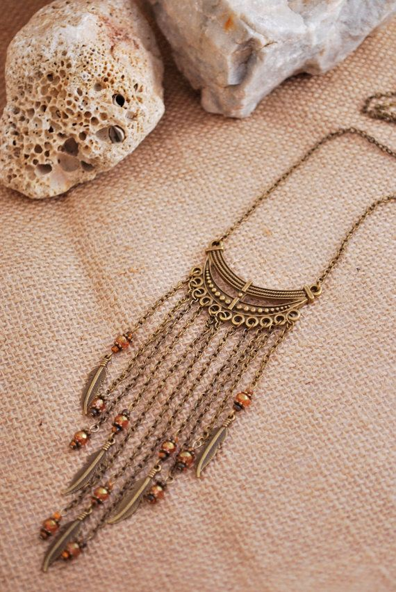 Tribal boho chain necklace, hippie feather and beads necklace, summer music festival necklace, unusual necklace, bronze tone gypsy necklace.