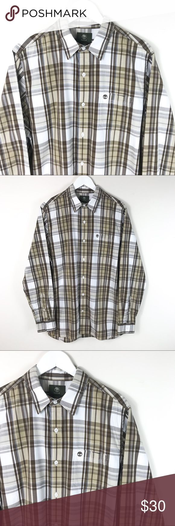 Timberland Men's Long Sleeve Brown Plaid Shirt Timberland Men's Long Sleeve Brown Plaid Shirt Size Medium   This Timberland shirt is used, but in excellent condition. Timberland Shirts Casual Button Down Shirts