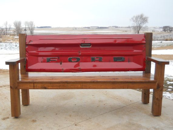 Red Ford Tailgate Bench. Legs And Supports Constructed Of Cedartone CCA  Lumber With Cedar Seat