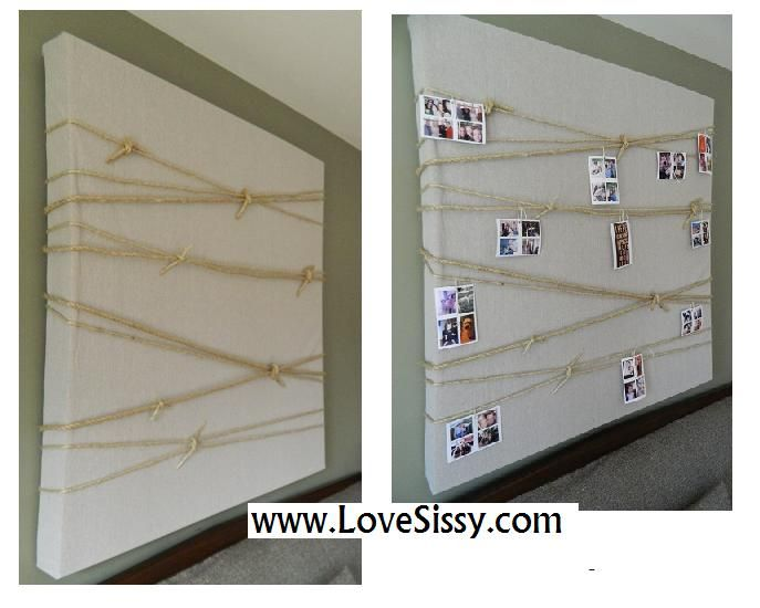Large wall art. Quick change picture display. Wrap & tie rope around a large canvas. Use clothespins to hang favorite pictures.