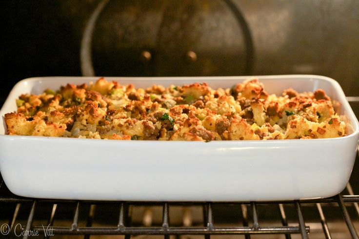 """Cornbread and Sausage Stuffing - Homemade grain-free """"cornbread"""", sautéed onions, celery, sausage, chicken stock, eggs and herbs make for a nutrient dense and healthy addition to the holiday table."""