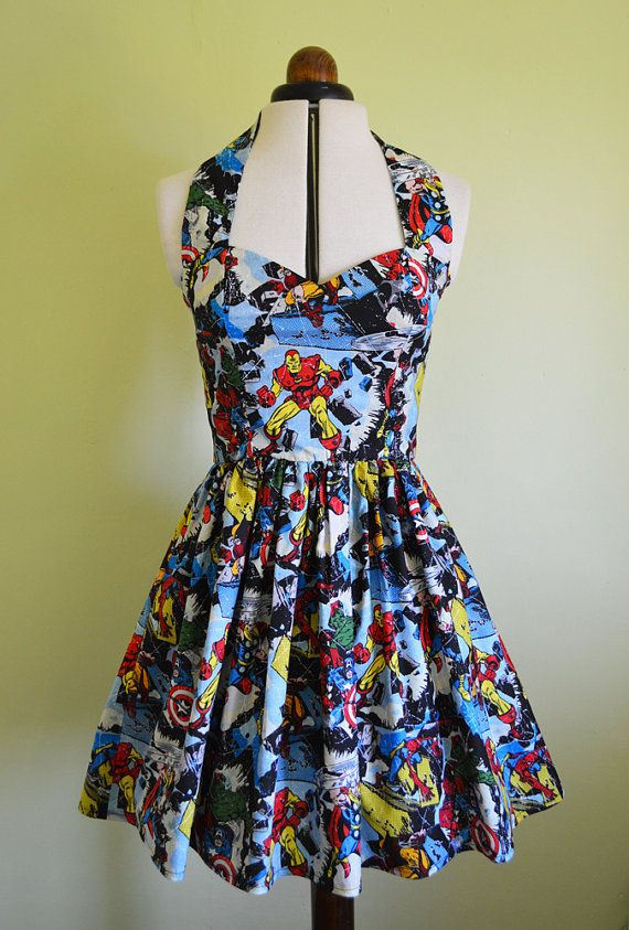 Marvel comic book Superheros dress Womens by Cyanidekissx on Etsy