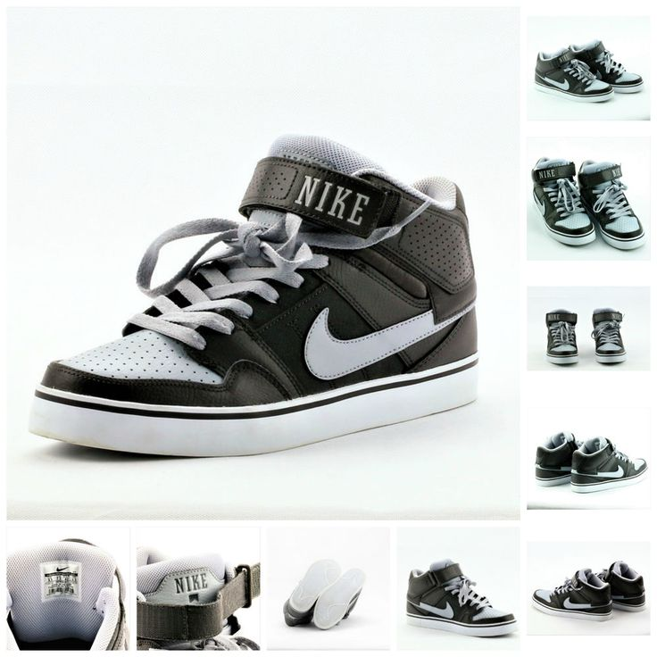 NIKE MORGAN MID 2 SE SKATEBOARDING GREY LACE UPS & VELCRO TOP UK 7.5  WORN ONCE