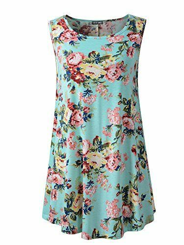 491c0db7d939fc Veranee Women s Sleeveless Swing Tunic Summer Floral Flare Tank Top Large  6-2  Veranee
