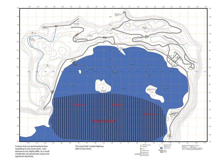 Coastal Highway map  The Long Dark  Pinterest  Highway map