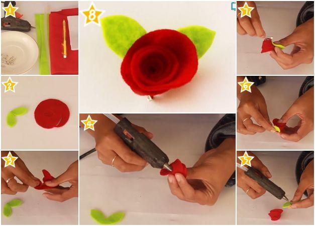 Cara Membuat Bros Bunga Mawar Dari Kain Flanel
