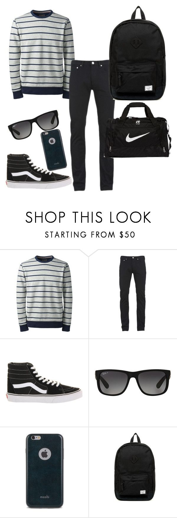 """""""Aarons outfit"""" by californiahesperia on Polyvore featuring Lands' End, Paul Smith, Vans, Ray-Ban, Moshi, Herschel Supply Co., NIKE, men's fashion and menswear"""