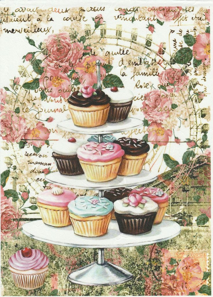 Rice Paper Vintage Shabby Cupcakes For Decoupage Scrapbook