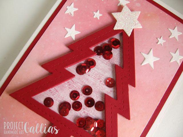 ProjectGallias dla Agateria Craft - Kartka choinka - shaker-box - Christmas tree shaped shaker-box card.