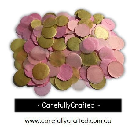 CarefullyCrafted - 25 Grams Tissue Paper Confetti - Pink and Gold - 1 inch Circles  - wedding, wedding planning, party, party fun, confetti, confetti circles, gold, pink, paper pieces, circle confetti, event, event décor, decoration http://carefullycrafted.com.au/25-grams-tissue-paper-confetti-pink-and-gold-1-inch-circles-cc2/